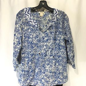 Lucky Brand Peasant Tunic Embroidered Boho Sz M